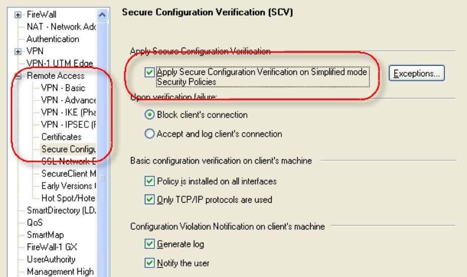 Apply Secure Configuration Verification on Simplified mode . c) Click Exceptions . The Secure Configuration