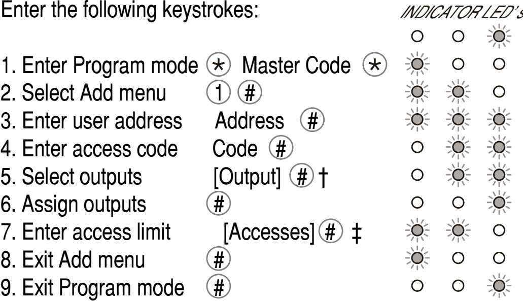 Enter the following keystrokes: INDICATOR LED's 1. Enter Program mode Master Code 2. Select Add
