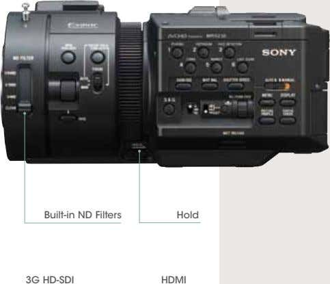 Built-in ND Filters Hold 3G HD-SDI HDMI