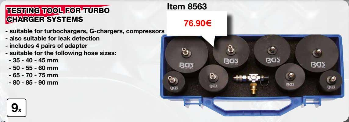 Item 8563 TESTING TOOL FOR TURBO CHARGER SYSTEMS 76.90€ - suitable for turbochargers, G-chargers, compressors