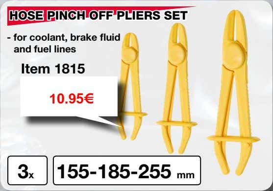 HOSE PINCH OFF PLIERS SET - for coolant, brake fluid and fuel lines Item 1815