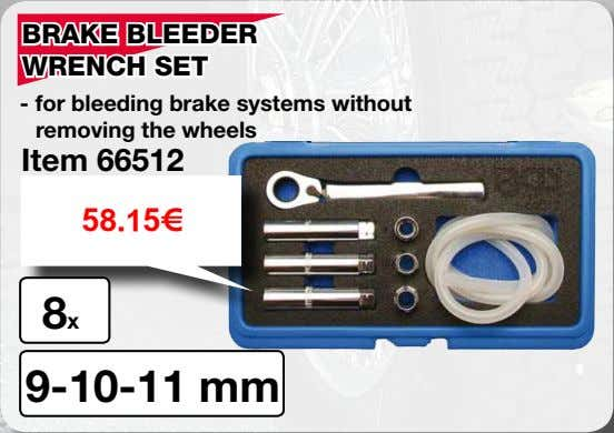 BRAKE BLEEDER WRENCH SET - for bleeding brake systems without removing the wheels Item 66512
