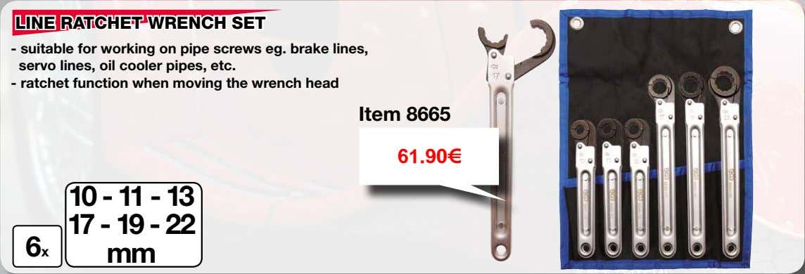 LINE RATCHET WRENCH SET - suitable for working on pipe screws eg. brake lines, servo
