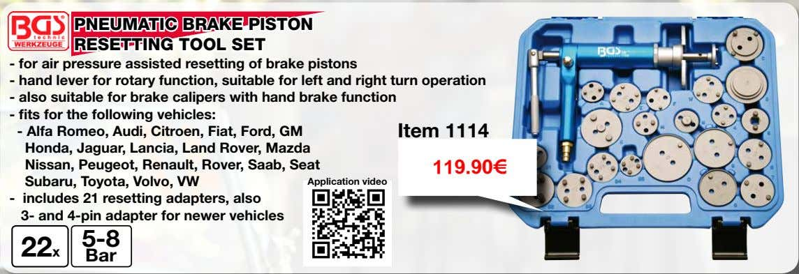 PNEUMATIC BRAKE PISTON RESETTING TOOL SET - for air pressure assisted resetting of brake pistons
