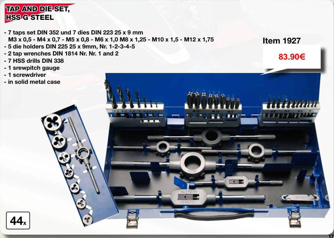 TAP AND DIE SET, HSS G STEEL - 7 taps set DIN 352 und 7