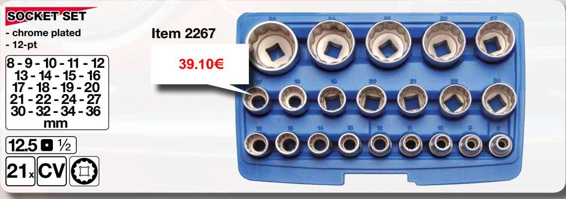 SOCKET SET - chrome plated Item 2267 - 12-pt 8 - 9 - 10 -