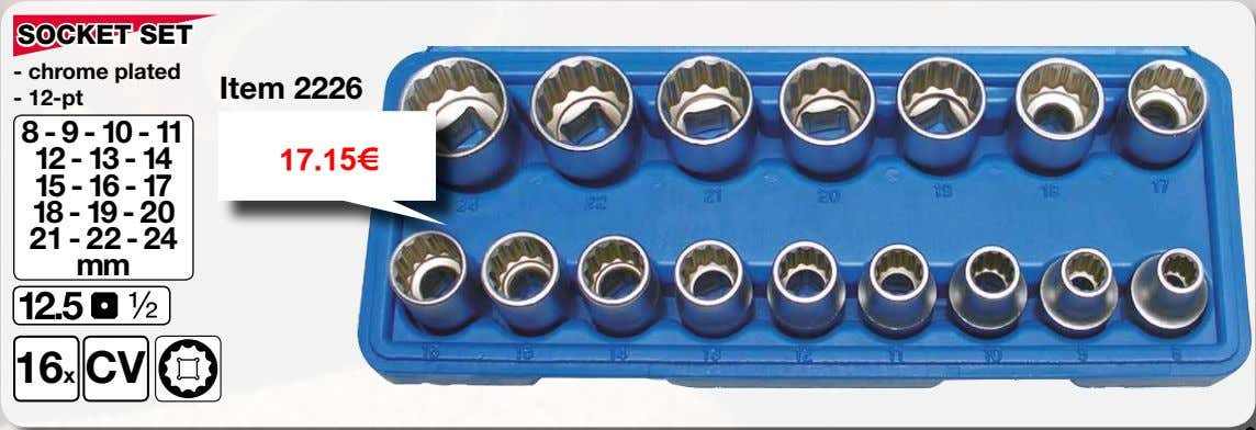 SOCKET SET - chrome plated Item 2226 - 12-pt 8 - 9 - 10 -