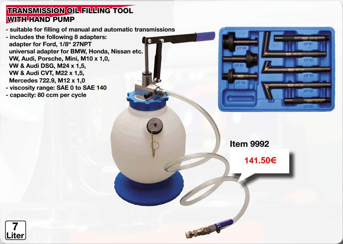 composite plastic Application video 37.75€ 1,5 Liter TRANSMISSION OIL FILLING TOOL WITH HAND PUMP - suitable