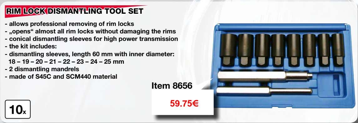 "RIM LOCK DISMANTLING TOOL SET - allows professional removing of rim locks - ""opens"" almost"