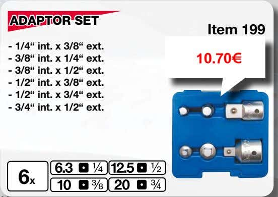 "ADAPTOR SET Item 199 - 1/4"" int. x 3/8"" ext. - 3/8"" int. x 1/4"""