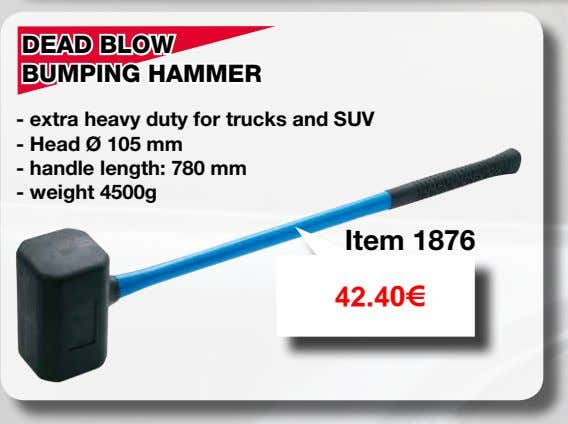 DEAD BLOW BUMPING HAMMER - extra heavy duty for trucks and SUV - Head Ø