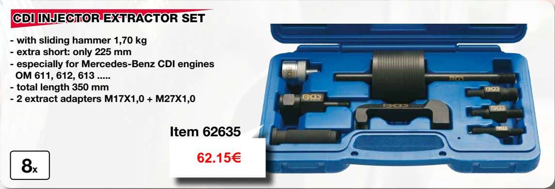CDI INJECTOR EXTRACTOR SET - with sliding hammer 1,70 kg - extra short: only 225