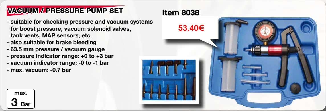 VACUUM / PRESSURE PUMP SET Item 8038 - suitable for checking pressure and vacuum systems
