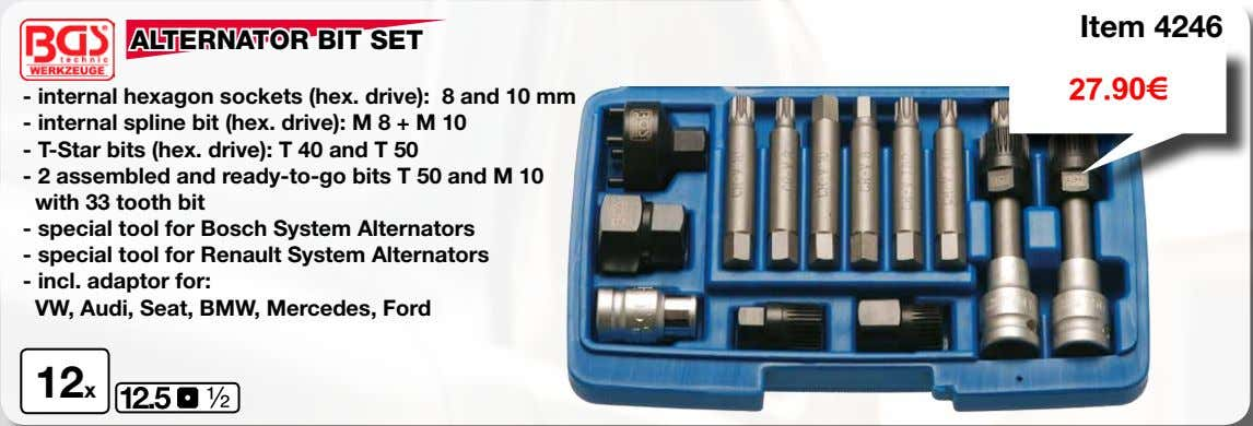 Item 4246 ALTERNATOR BIT SET 27.90€ - internal hexagon sockets (hex. drive): 8 and 10