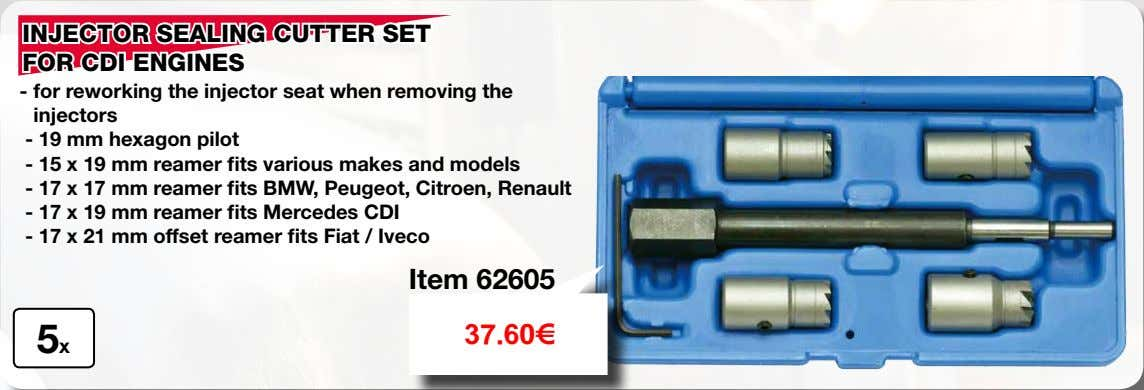 INJECTOR SEALING CUTTER SET FOR CDI ENGINES - for reworking the injector seat when removing