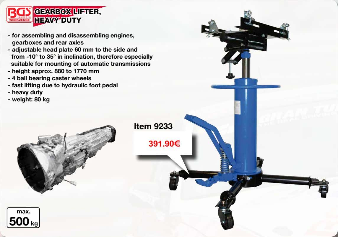 GEARBOX LIFTER, HEAVY DUTY - for assembling and disassembling engines, gearboxes and rear axles -
