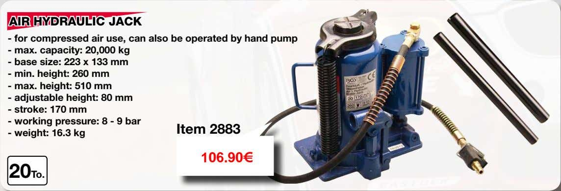 AIR HYDRAULIC JACK - for compressed air use, can also be operated by hand pump