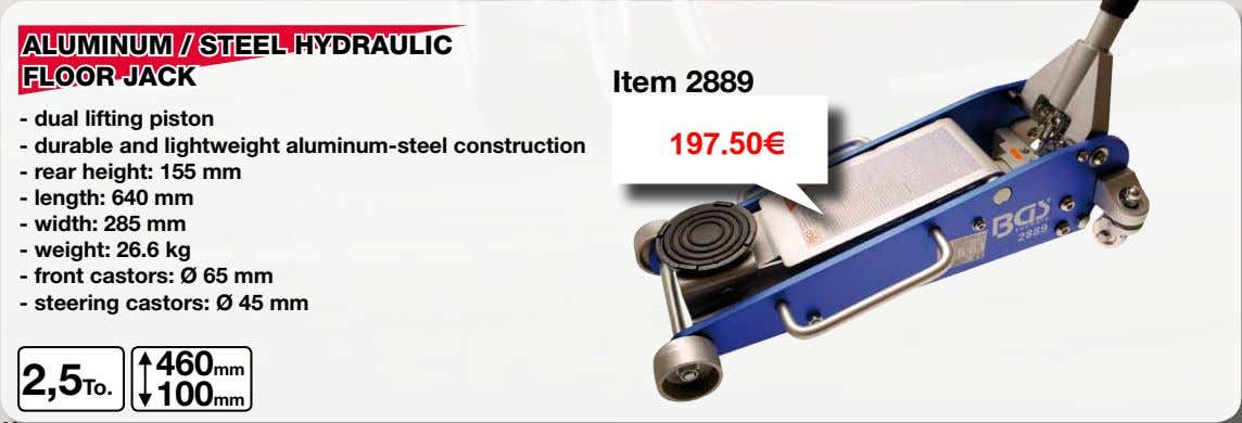 ALUMINUM / STEEL HYDRAULIC FLOOR JACK Item 2889 - dual lifting piston - durable and