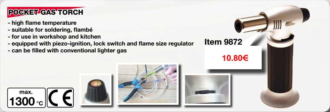 POCKET GAS TORCH - high flame temperature - suitable for soldering, flambé - for use