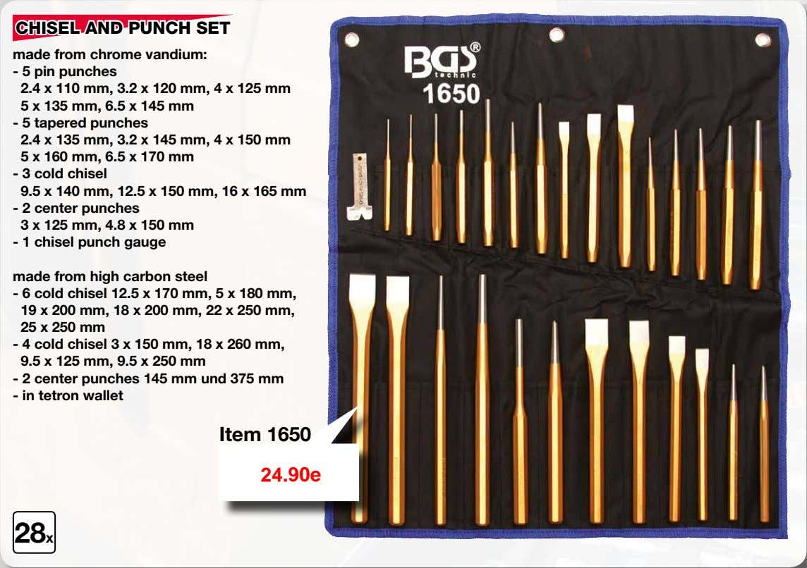 CHISEL AND PUNCH SET made from chrome vandium: - 5 pin punches 2.4 x 110