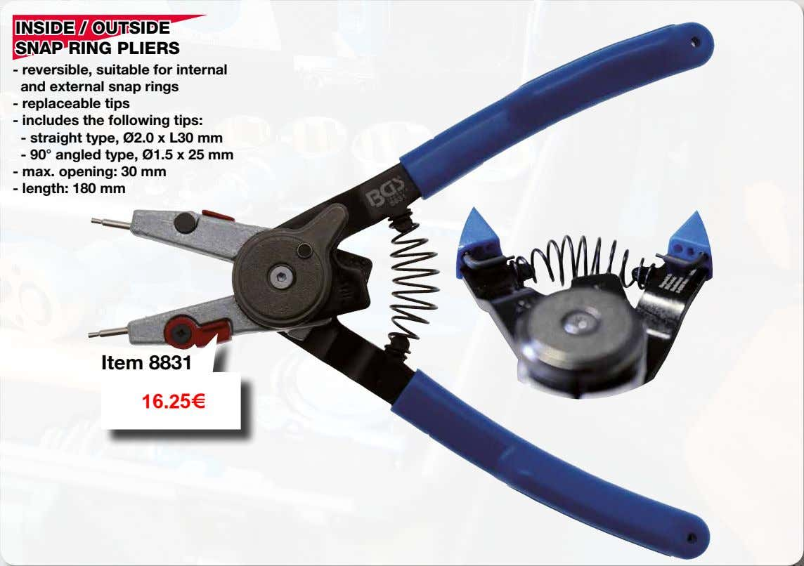 INSIDE / OUTSIDE SNAP RING PLIERS - reversible, suitable for internal and external snap rings