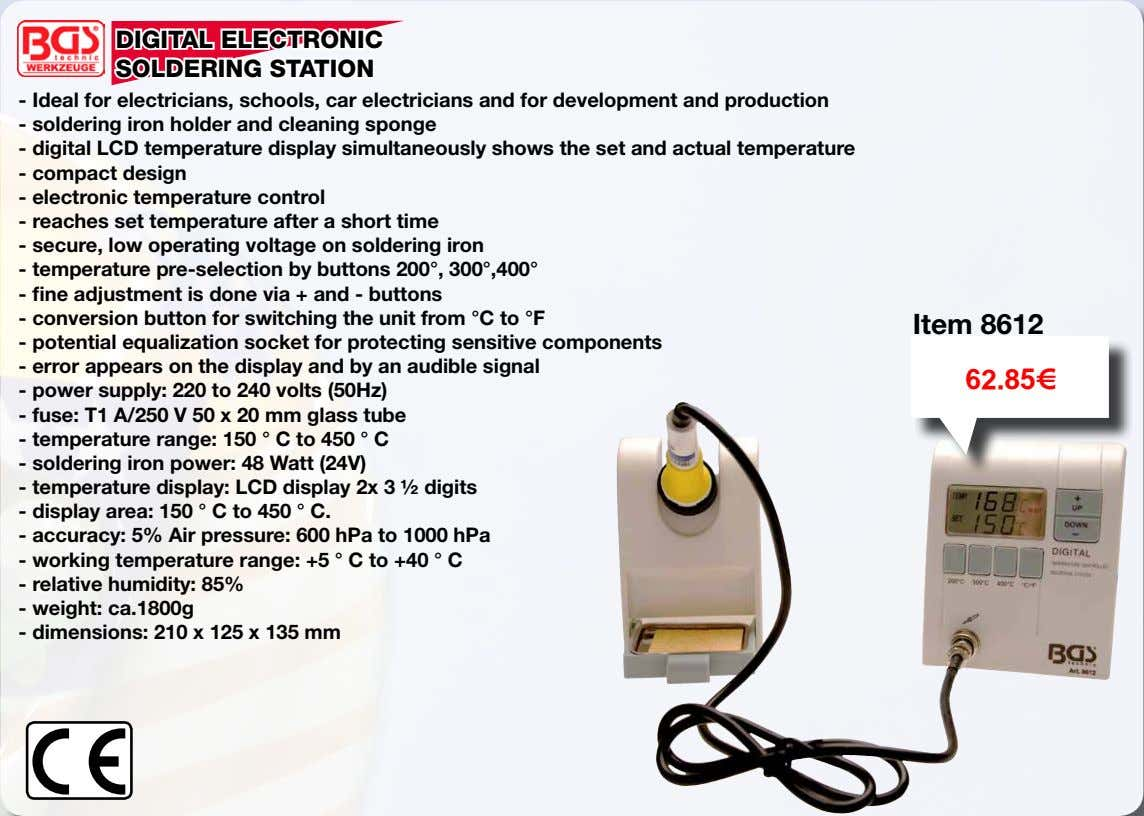 DIGITAL ELECTRONIC SOLDERING STATION - Ideal for electricians, schools, car electricians and for development and