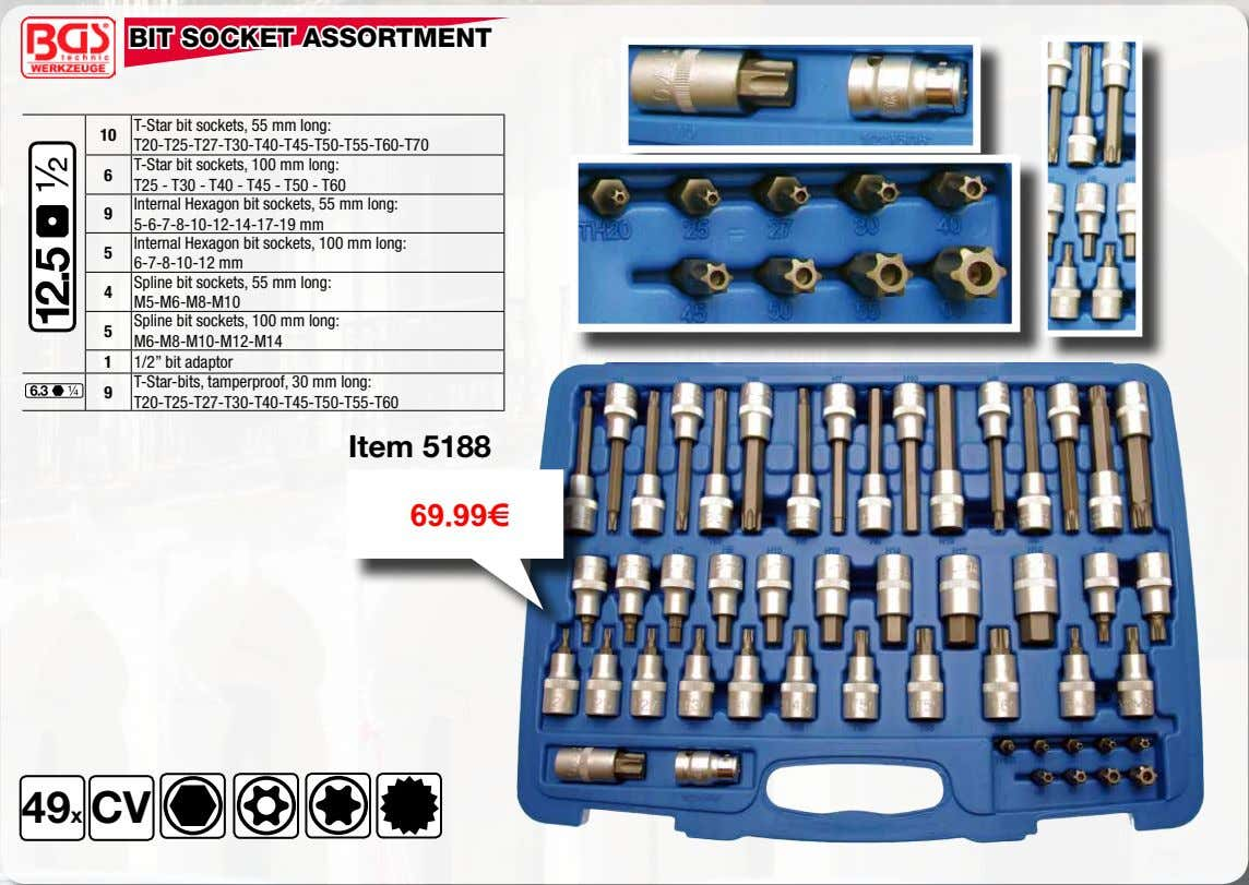 BIT SOCKET ASSORTMENT T-Star bit sockets, 55 mm long: 10 T20-T25-T27-T30-T40-T45-T50-T55-T60-T70 T-Star bit sockets,