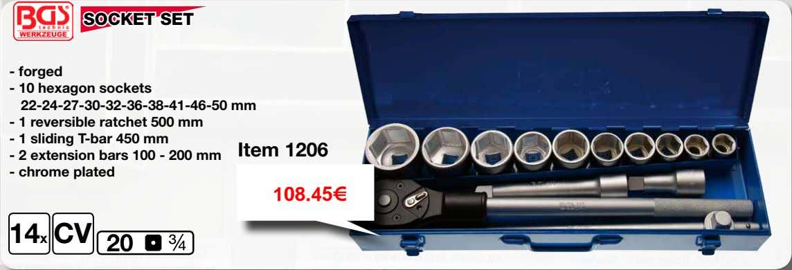 SOCKET SET - forged - 10 hexagon sockets 22-24-27-30-32-36-38-41-46-50 mm - 1 reversible ratchet 500