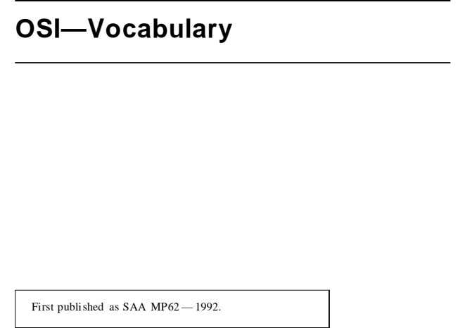 OSI—Vocabulary First published as SAA MP62 — 1992.