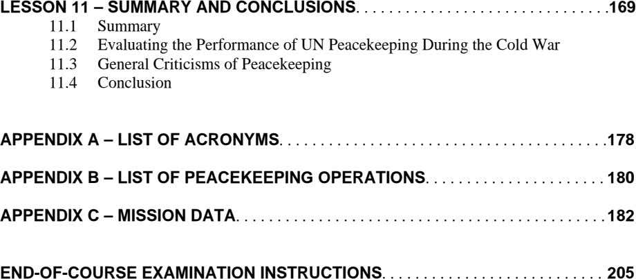 LESSON 11 – SUMMARY AND .169 11.1 Summary 11.2 Evaluating the Performance of UN Peacekeeping