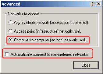 connect to non-preferred networks is UNC HECK. Close it. 6. Click Add button and Wireless network