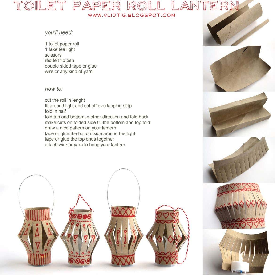 toilet paper roll lantern www.vlijtig.blogspot.com you'll need: 1 toilet paper roll 1 fake tea light