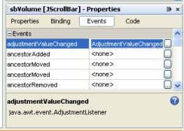 klik pada tab Events, klik 2 X adjustmentValueChanged. Gambar 9.3 Properties pada Scroll Bar Ø Ketikkan