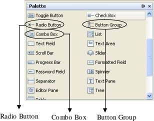 Radio Button Combo Box Button Group