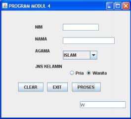 : Text_Hasil.setText(String.valueOf(Kelamin)); } Gambar 4. 7 Running Program ComboBoxdan Radio Button Tugas