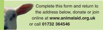 Complete this form and return to the address below, donate or join online at www.animalaid.org.uk