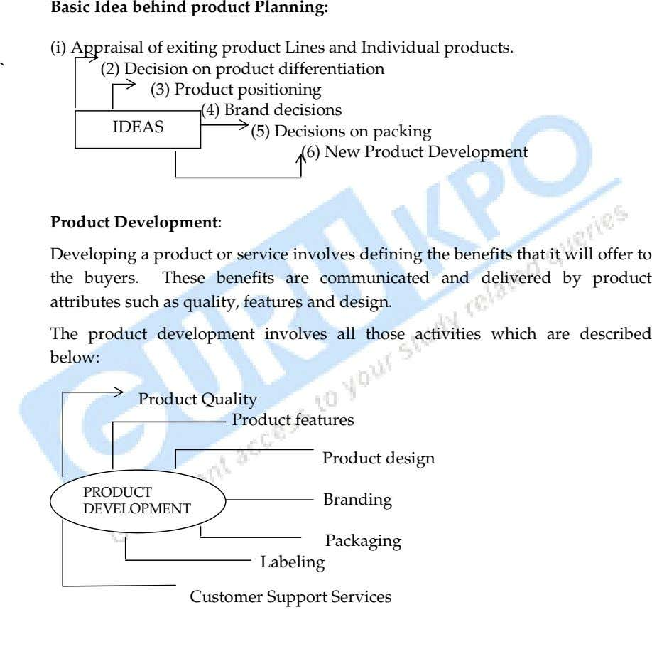 Basic Idea behind product Planning: (i) Appraisal of exiting product Lines and Individual products. `