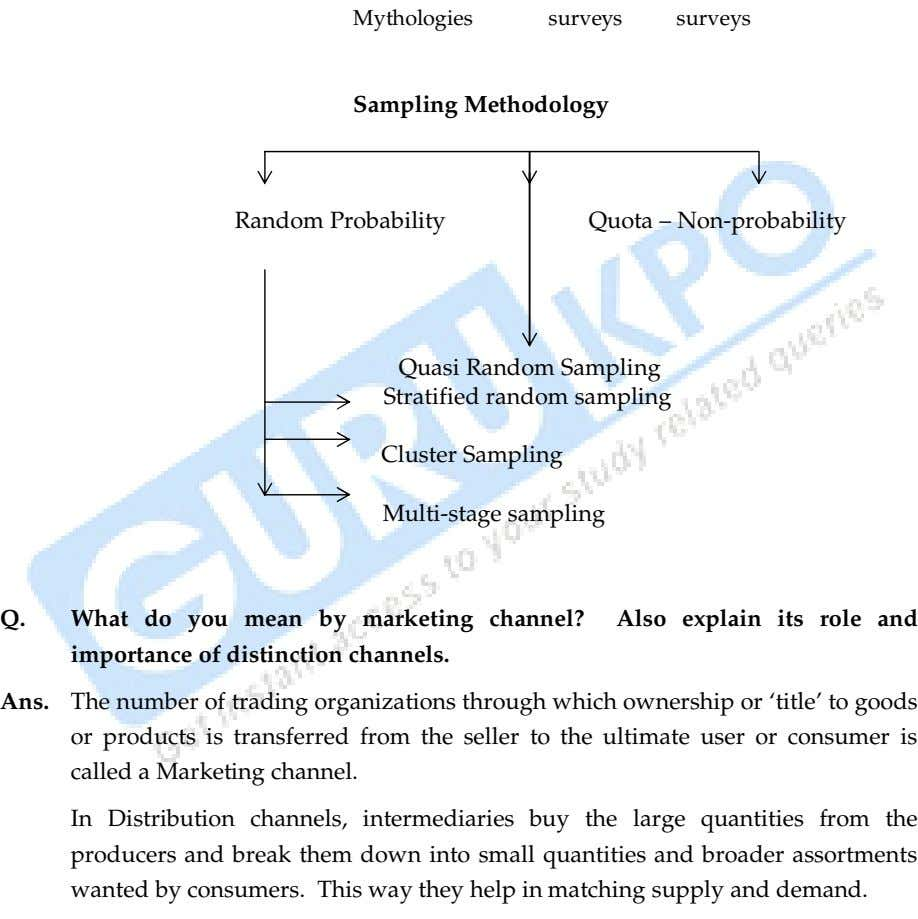 Mythologies surveys surveys Sampling Methodology Random Probability Quota – Non-probability Quasi Random Sampling