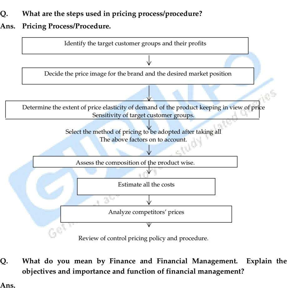 Q. What are the steps used in pricing process/procedure? Ans. Pricing Process/Procedure. Identify the target