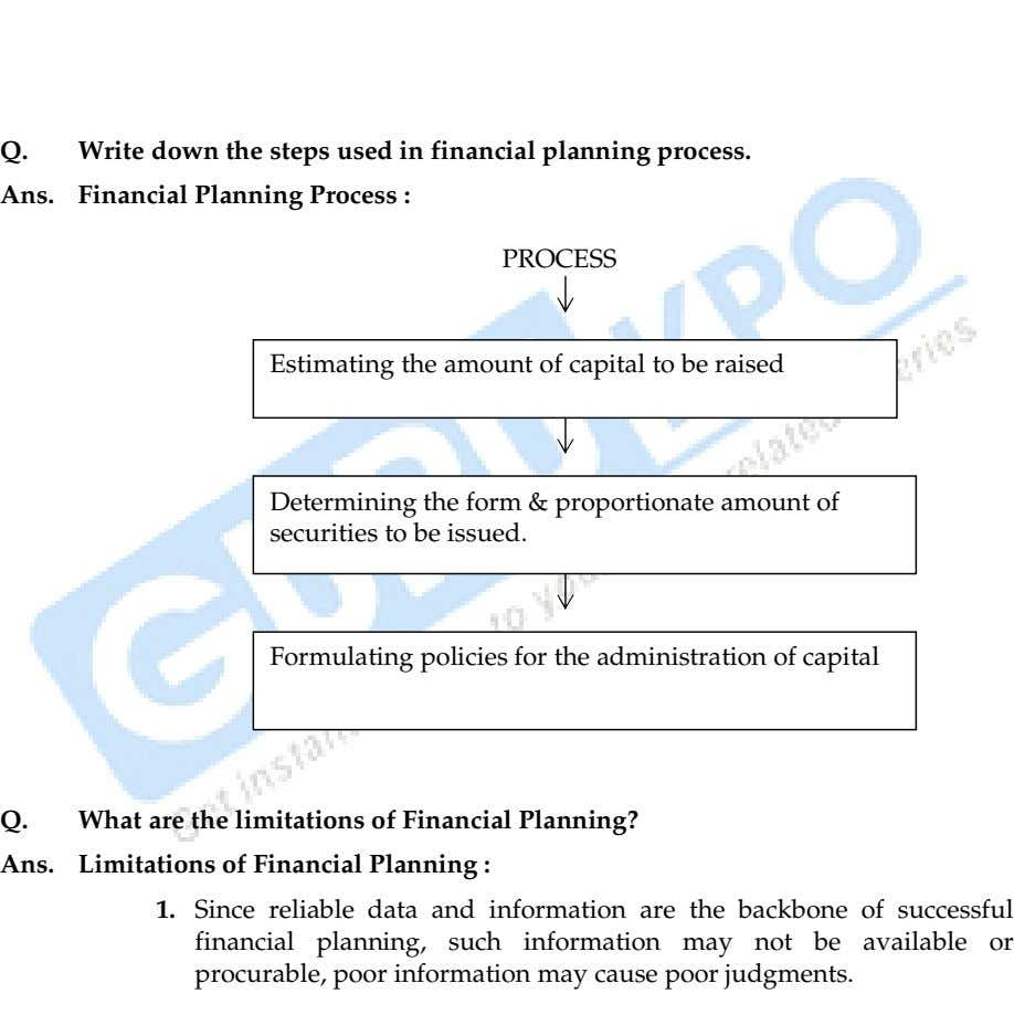 Q. Write down the steps used in financial planning process. Ans. Financial Planning Process :