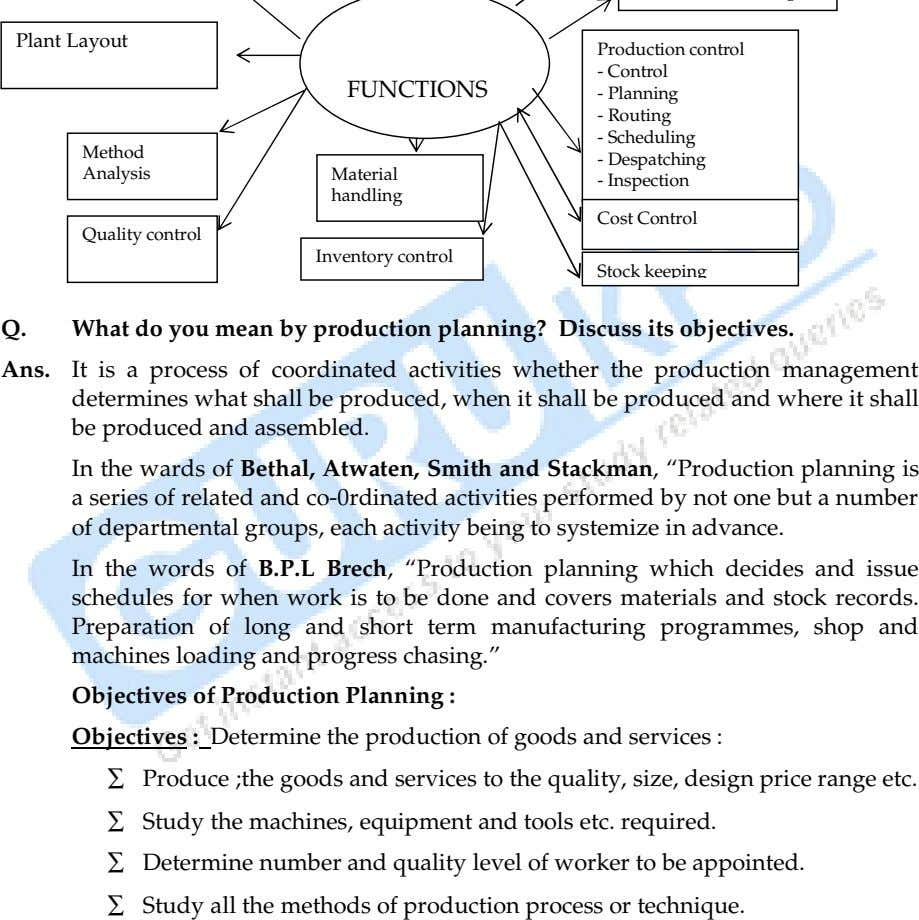 Plant Layout Production control Control Planning Routing Scheduling Despatching Inspection Cost Control Stock