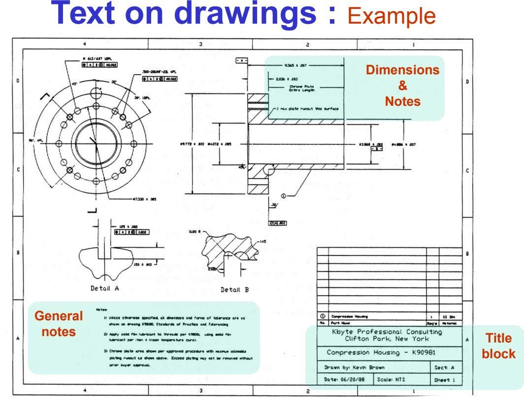 Text on drawings : Example Dimensions & Notes General notes Title block