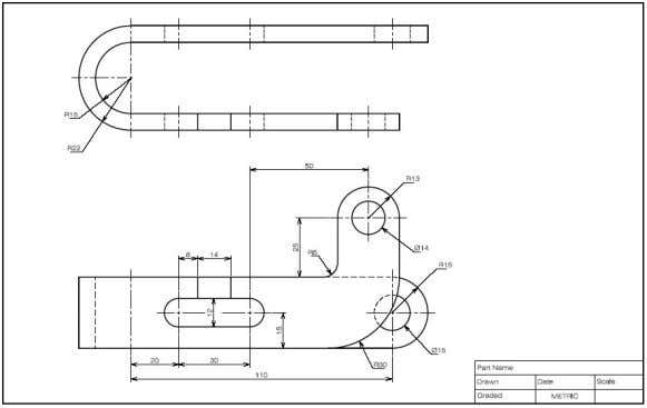 Create a Drawing : Using a computer Computer aided drafting (CAD) software is used. Example Solid