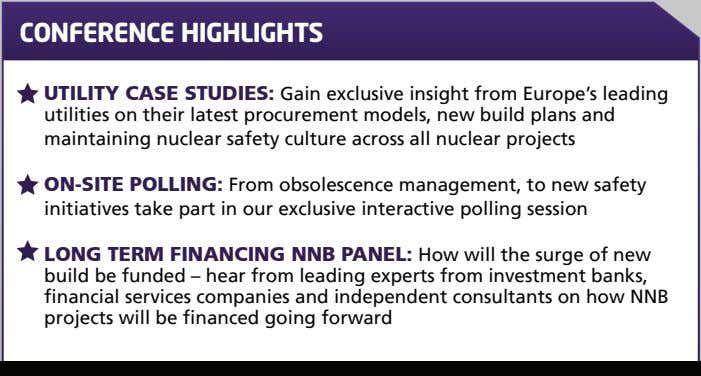 CONFERENCE HIGHLIGHTS UTILITY CASE STUDIES: Gain exclusive insight from Europe's leading utilities on their latest