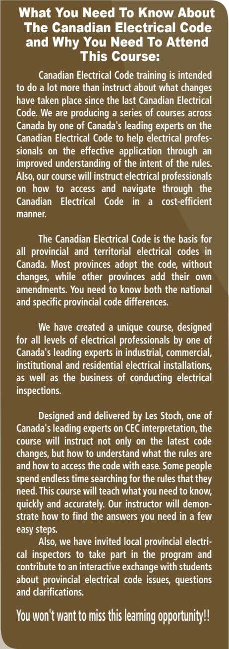 What You Need To Know About The Canadian Electrical Code and Why You Need To