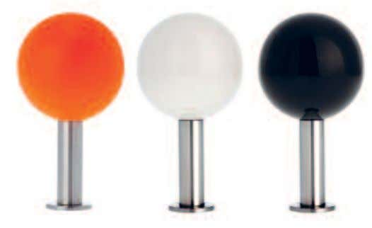 DOTS NEON-ORANGE, WEISS, SCHWARZ / NEON ORANGE, WHITE, BLACK THE SOLID-WOOD SPHERES HAVE A BRUSHED STAINLESS