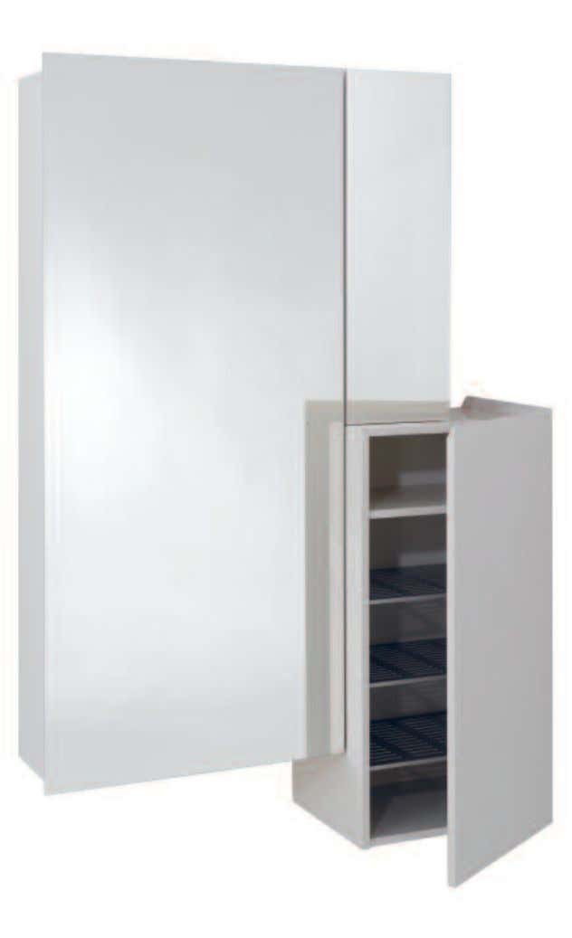 ONE ALL IN ONE: THE WALL-MOUNTED WARDROBE HAS A LARGE MIRROR FRONT THAT CONCEALS A COAT