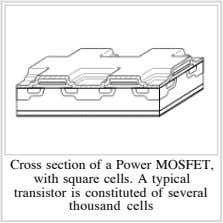 Cross section of a Power MOSFET, with square cells. A typical transistor is constituted of