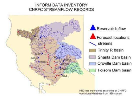 ROUTING THROUGH RIVER NETWORK FOR ALL BASINS Hydrologic Model Domain Oroville Subcatchments Oroville