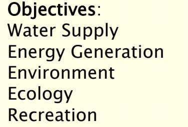 Objectives: Water Supply Energy Generation Environment Ecology Recreation